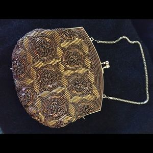 Fully Beaded Bronze Vintage Evening Purse